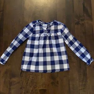 Carter's blue and white Buffalo check blouse
